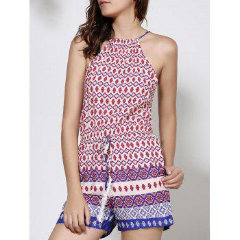 Ethnic Women's Round Neck Backless Print Romper