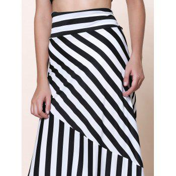 Sexy Mid-Waisted Striped Spliced Women's Skirt - S S