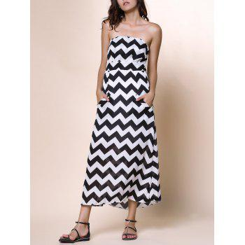 Sexy Strapless Sleeveless Pocket Design Wave Print Women's Dress