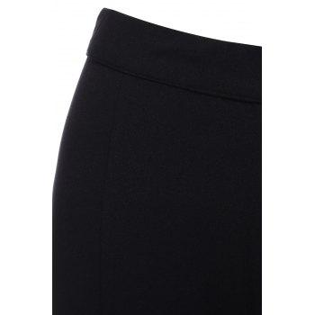 OL Style Loose Solid Color Wide Leg Pants For Women - BLACK XS