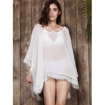 Stylish V-Neck Lacework Spliced Loose-Fitting 3/4 Sleeve Women's Kimono Blouse - WHITE WHITE