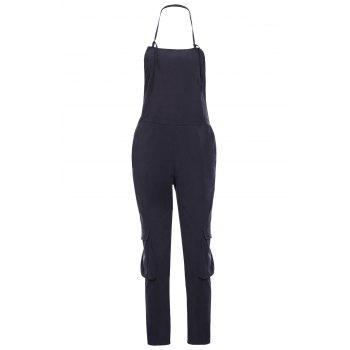Casual Sleeveless Pocket Embellished Solid Color Women's Overalls