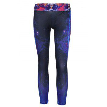 Stylish Women's Elastic Waist Tiger and Galaxy Printed Yoga Pants