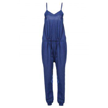 Brief Purplish Blue Spaghetti Strap Sleeveless Jumpsuit For Women