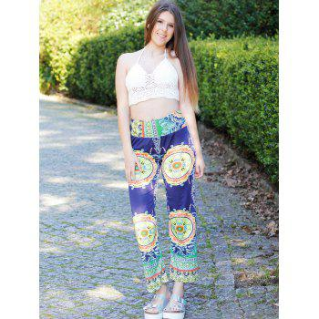 Stylish Mid-Waisted Loose-Fitting Printed Women's Exumas Pants - COLORMIX S