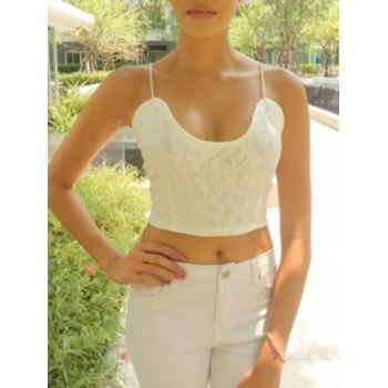 Noble V-Neck Spaghetti Strap White Crop Top For Women - WHITE M