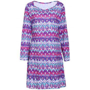 Chic V Neck Long Sleeves Plus Size Printed Women's Dress