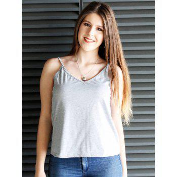 Charming Solid Color Low-Cut Spaghetti Strap Tank Top For Women
