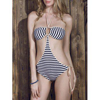 Trendy Halter Striped Hollow Out One Piece Swimwear For Women