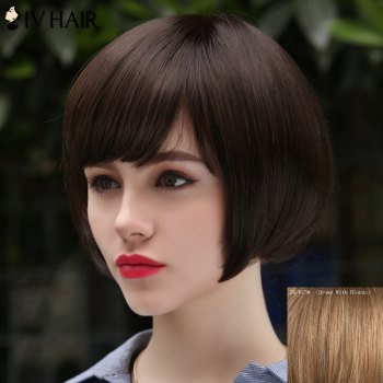 Women's Trendy Siv Hair Human Hair Short Bobo Style Wig - BROWN WITH BLONDE BROWN/BLONDE