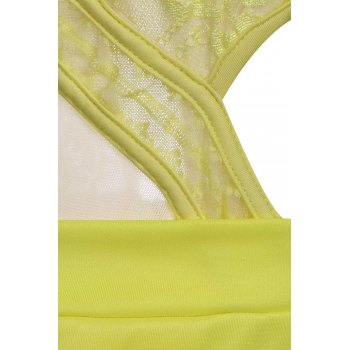 Sexy Scoop Neck Lace Spliced Cut Out Backless Sleeveless Women's Romper - YELLOW ONE SIZE(FIT SIZE XS TO M)