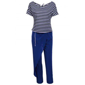 Casual Style Short Sleeve Skew Neck Striped T-Shirt + Drawstring Pants Women's Twinset - BLUE AND WHITE L