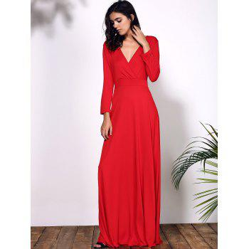 Women's Plunging Neckline 3/4 Sleeve Plus Size Solid Color Dress - RED RED