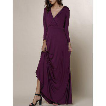 Women's Plunging Neckline 3/4 Sleeve Plus Size Solid Color Dress - PURPLE 3XL