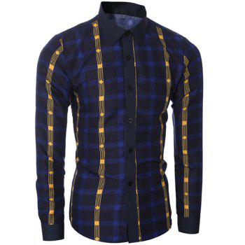 Classic Color Block Shirt Collar Long Sleeves Slimming Men's Plaid Shirt