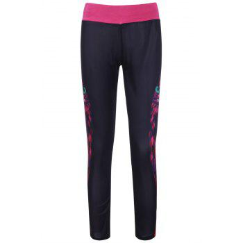 Women's Stylish Owl Print Color Block Elastic Stretchy Yoga Pants