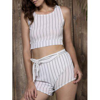 Stylish Scoop Neck Striped Crop Top + Shorts Women's Twinset