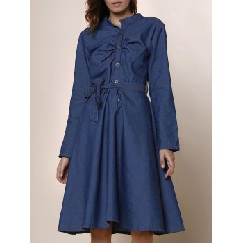 Stylish Long Sleeve Stand-Up Collar Button Design Denim Women's Dress - DEEP BLUE DEEP BLUE