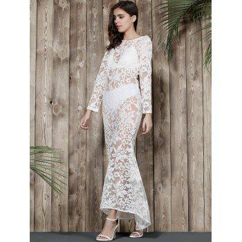 Graceful Women's Round Neck Long Sleeve Backless Lace Mermaid Dress - WHITE S