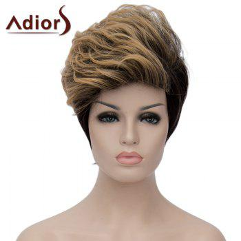 Fashion Blonde Mixed Black Short Capless Fluffy Wave Synthetic Adiors Women's Bump Wig