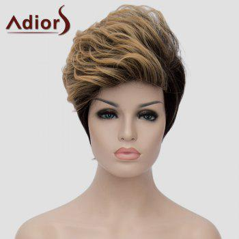 Fashion Blonde Mixed Black Short Capless Fluffy Wave Synthetic Adiors Women's Bump Wig - COLORMIX