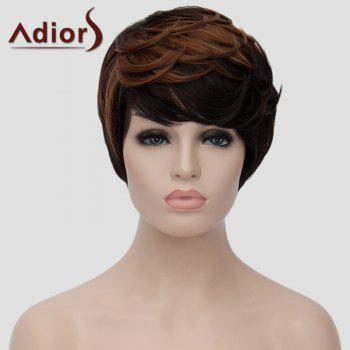 Shaggy Natural Wave Brown Highlight Vogue Side Bang Short Synthetic Adiors Wig For Women - BLACK/BROWN
