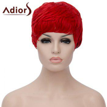 Fluffy Straight Red Black Ombre Synthetic Spiffy Ultrashort Adiors Hair Capless Bump Wig For Women