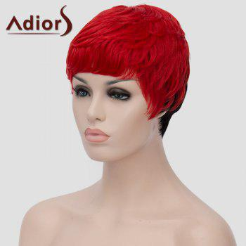 Fluffy Straight Red Black Ombre Synthetic Spiffy Ultrashort Adiors Hair Capless Bump Wig For Women - RED/BLACK