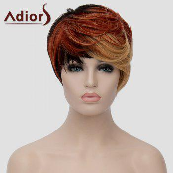 Fashion Multicolor Highlight Short Fluffy Natural Wave Synthetic Adiors Wig For Women - COLORMIX