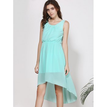 Elegant Women's Scoop Neck Sleeveless Solid Color High-Low Chiffon Dress - S S