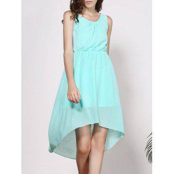 Elegant Women's Scoop Neck Sleeveless Solid Color High-Low Chiffon Dress - LIGHT GREEN S