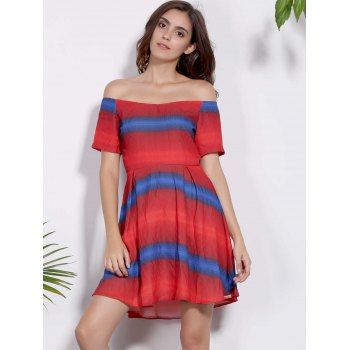 Stylish Off-The-Shoulder Short Sleeve Color Block Zippered Women's Dress - RED S