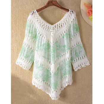 Trendy 3/4 Sleeve V-Neck Hollow Out Asymmetrical Women's Cover-Up