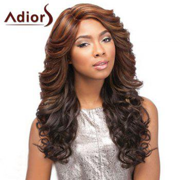 Shaggy Curly Synthetic Two-Tone Ombre Long Side Bang Capless Adiors Wig For Women