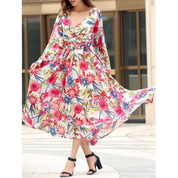 Bohemian Style V Neck Long Sleeve Colorful Floral Print Self Tie Belt Women's Dress