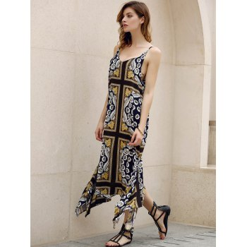 Retro Style Spaghetti Strap Sleeveless Floral Print Asymmetrical Women's Dress - COLORMIX L