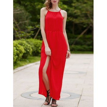 Spaghetti Strap Sleeveless High Slit Red Dress