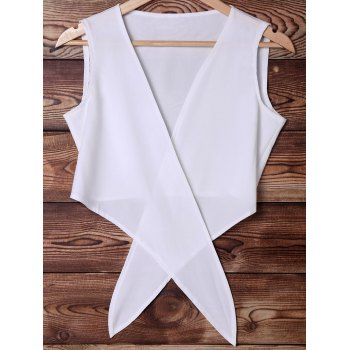 Stylish Plunging Neck Sleeveless White Chiffon Women's Crop Top - WHITE M