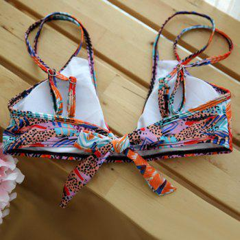 Stylish Strappy Abstract Feather Print Colorful Women's Bikini Set - COLORMIX L