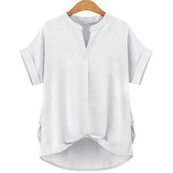 Stylish Women's V-Neck Short Sleeve Linen Blouse