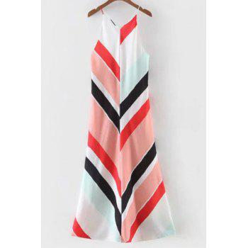 Stylish Spaghetti Strap Color Block Sundress