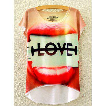 Cute Women's Scoop Neck Letter and Lip Print High Low Short Sleeve T-Shirt