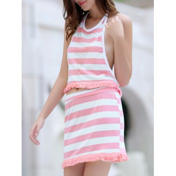 Sweet Women's Halter Stripe Fringed Crop Top and Skirt Twinset