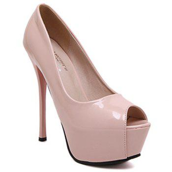Fashionable Patent Leather and Platform Design Women's Peep Toe Shoes