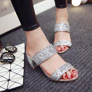 Fashion Solid Color and Sequined Cloth Design Women's Slippers - SILVER SILVER