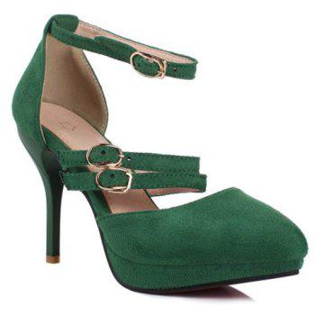 Trendy Buckles and Platform Design Women's Pumps - BLACKISH GREEN 34
