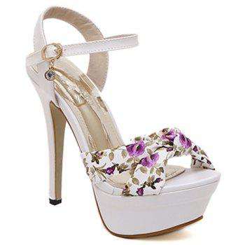 Trendy Stiletto Heel and Floral Print Design Women's Sandals