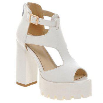 Ladylike Chunky Heel and Solid Color Design Women's Sandals
