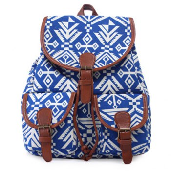 Leisure Geometric Print and Buckle Design Women's Satchel