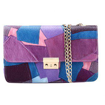 Fashion Chain and Patchwork Design Women's Crossbody Bag